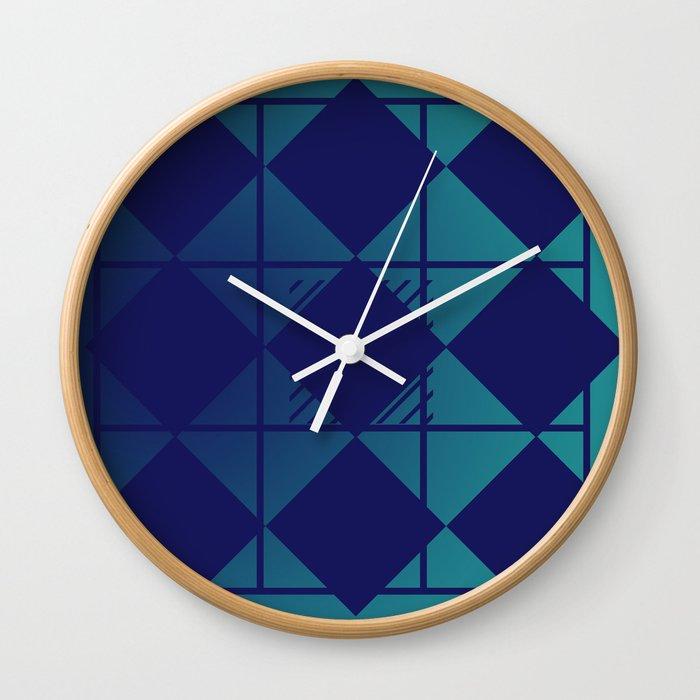 Blue,Diamond Shapes,Square Wall Clock