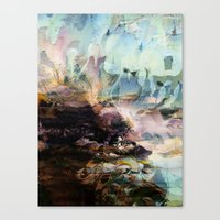 novelty Canvas Prints featuring Morning Seashore Abstract by Moody Muse