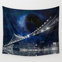 new york city Wall Tapestries featuring New!! New York City by Simone Gatterwe