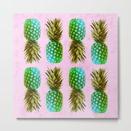 Green pineapples on pink background Metal Print