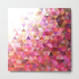 Geometric Abstract Gradient Triangle Pattern Background Metal Print