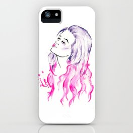 Pink Hair Purple Hair Don't Care iPhone Case