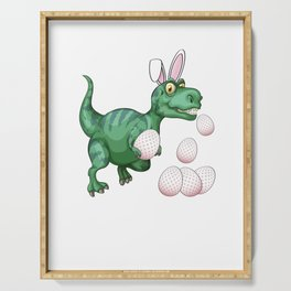 Dinosaur T-Rex Bunny Funny Easter Egg Serving Tray
