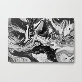 Black and White Marble  Metal Print