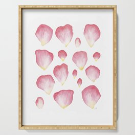 A Family of Pink English Rose Petals Serving Tray