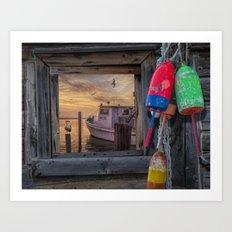 Sunrise with Fishing Boat, Gulls and Fishing Bouys Art Print