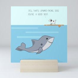 Shark practicing yoga pose Mini Art Print