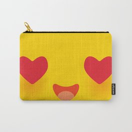 Kawaii funny muzzle in love with pink cheeks and big Red heart eyes Cute Cartoon Face on yellow Carry-All Pouch