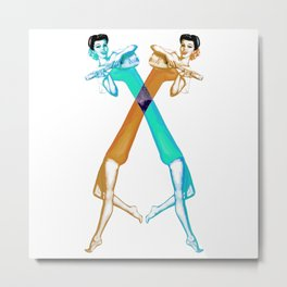 Stretchy Space Ladies Metal Print