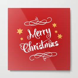 Merry Christmas - Typography, Calligraphy, Red, White, Stars Metal Print