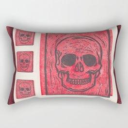 Four Red Skulls Offset Rectangular Pillow