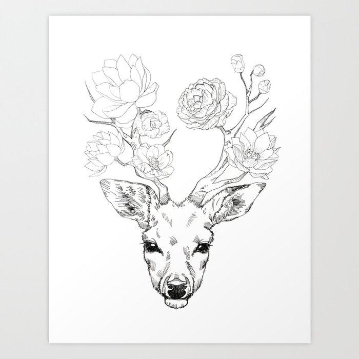 flower deer art print by minyoplanet