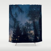 forrest Shower Curtains featuring Night Forrest by Grahamstarr