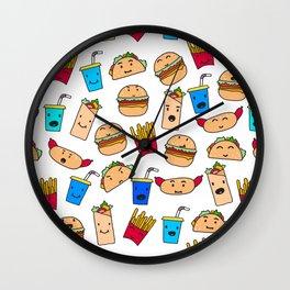 Kawaii Fast Food Burger Fries Taco Pattern White Wall Clock
