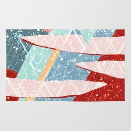 Abstract Splash Geometric Mountains in Clouds Design Rug