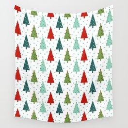 Christmas Tree holiday dots snow polka dot minimal modern geometric christmas decor design Wall Tapestry