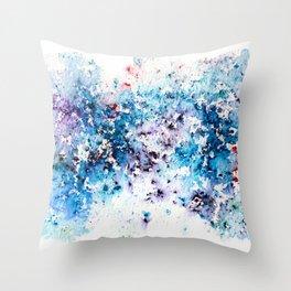 Blue Watercolour Rain Throw Pillow