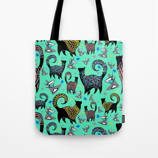 Blue Snobby Cocktail Cats Tote Bag