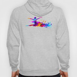 Colorful ballet dancer with flying birds Hoody