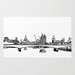 London Black and White Rug