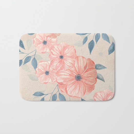 Seamless watercolor floral pattern Bath Mat