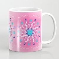 music notes Mugs featuring Music Notes In Pink by HK Chik
