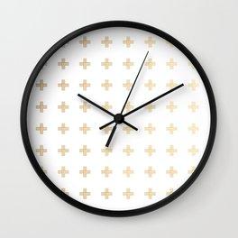 Gold Geometric Swiss Cross Pattern Wall Clock
