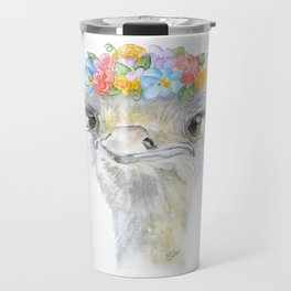 Ostrich Floral Watercolor Painting Nursery Art Travel Mug