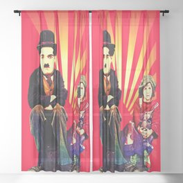 The Tramp and the Kid Sheer Curtain