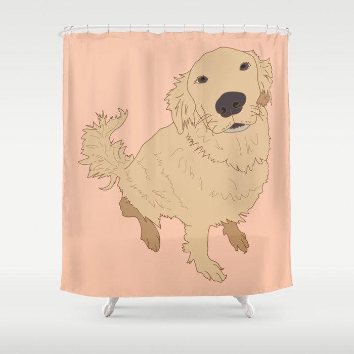 Golden Retriever Love Dog Illustrated Print Shower Curtain