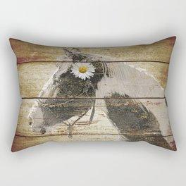 Daisy Flower on Rustic Brown Cream Horse Country Barn Art A166 Rectangular Pillow