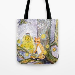 cat reading with fireflies in forest Tote Bag