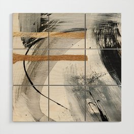 Armor [7]: a bold minimal abstract mixed media piece in gold, black and white Wood Wall Art