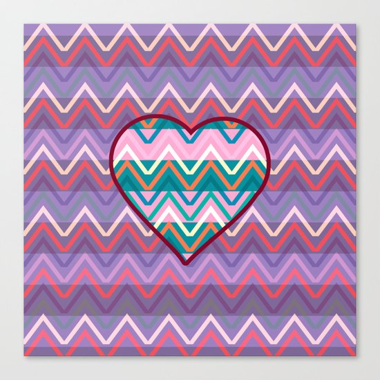 Heart chevron Canvas Print