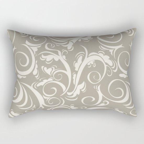 Flora Alabaster Blue Gray Rectangular Pillow