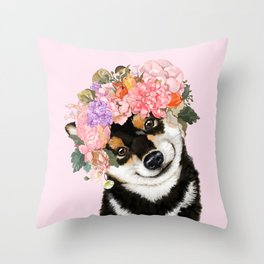 Black Shiba Inu with Flower Crown Pink Throw Pillow