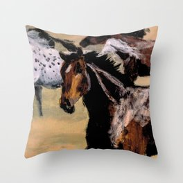 Galloping Horse Close-Up Throw Pillow