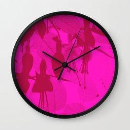 Pink Duotone Fuschias Wall Clock
