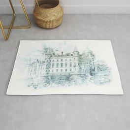 Watercolor Castle Blue Rug