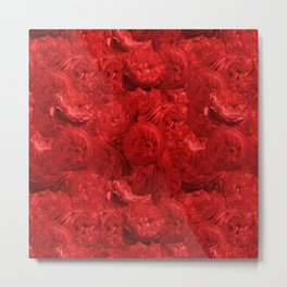 Bed of fire red roses - Rose floral Flowers Metal Print