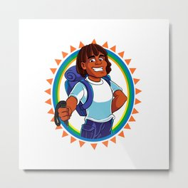 Black Man hiker mascot Metal Print