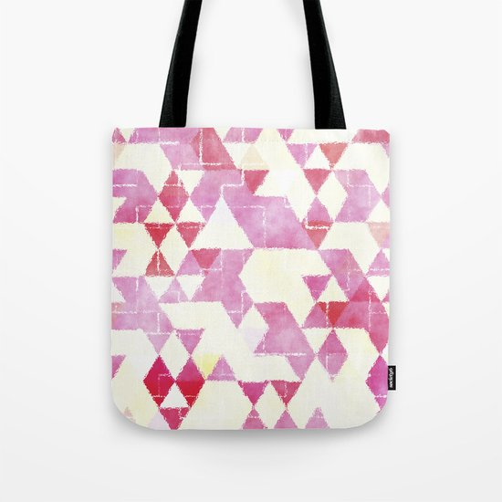 Abstract Pink Triangles, Watercolor Pattern Tote Bag