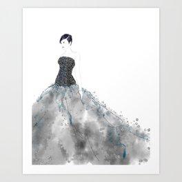 Fashion illustration long dress enbroidered bodice Art Print