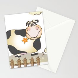 Cute Happy Cow Stationery Cards