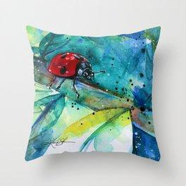 Ladybug - by Kathy Morton Stanion Throw Pillow
