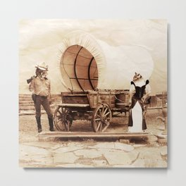 Old West Cowboy Cat and his Gal Metal Print