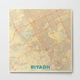 Riyadh Map Retro Metal Print