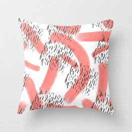 Abstract modern living coral black watercolor brushstrokes Throw Pillow