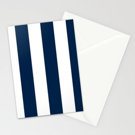 Wide Vertical Stripes - White and Oxford Blue Stationery Cards