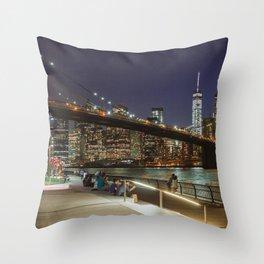 Brooklyn Bridge Nights Throw Pillow